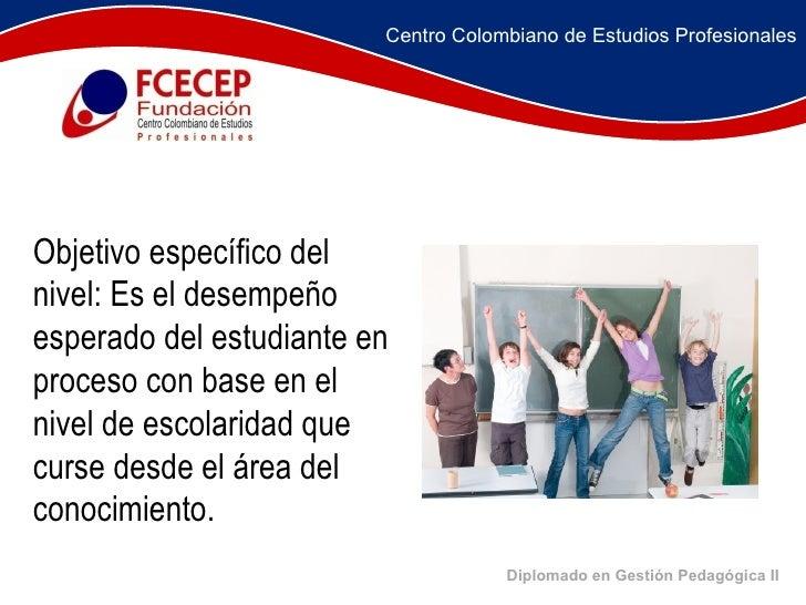Diplomado en Gestión Pedagógica II     Objetivo específico del nivel: Es el desempeño esperado del estudiante en...