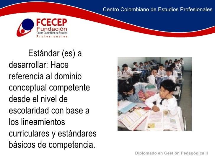 Diplomado en Gestión Pedagógica II       Estándar (es) a desarrollar: Hace referencia al dominio conceptual com...