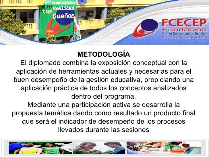 METODOLOGÍA El diplomado combina la exposición conceptual con la aplicación de herramientas actuales y necesarias para el ...