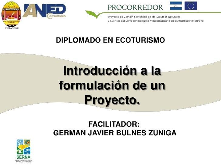 DIPLOMADO EN ECOTURISMO      Introducción a la  formulación de un       Proyecto.        FACILITADOR: GERMAN JAVIER BULNES...
