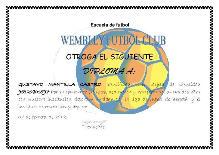 diploma escuela de futbol