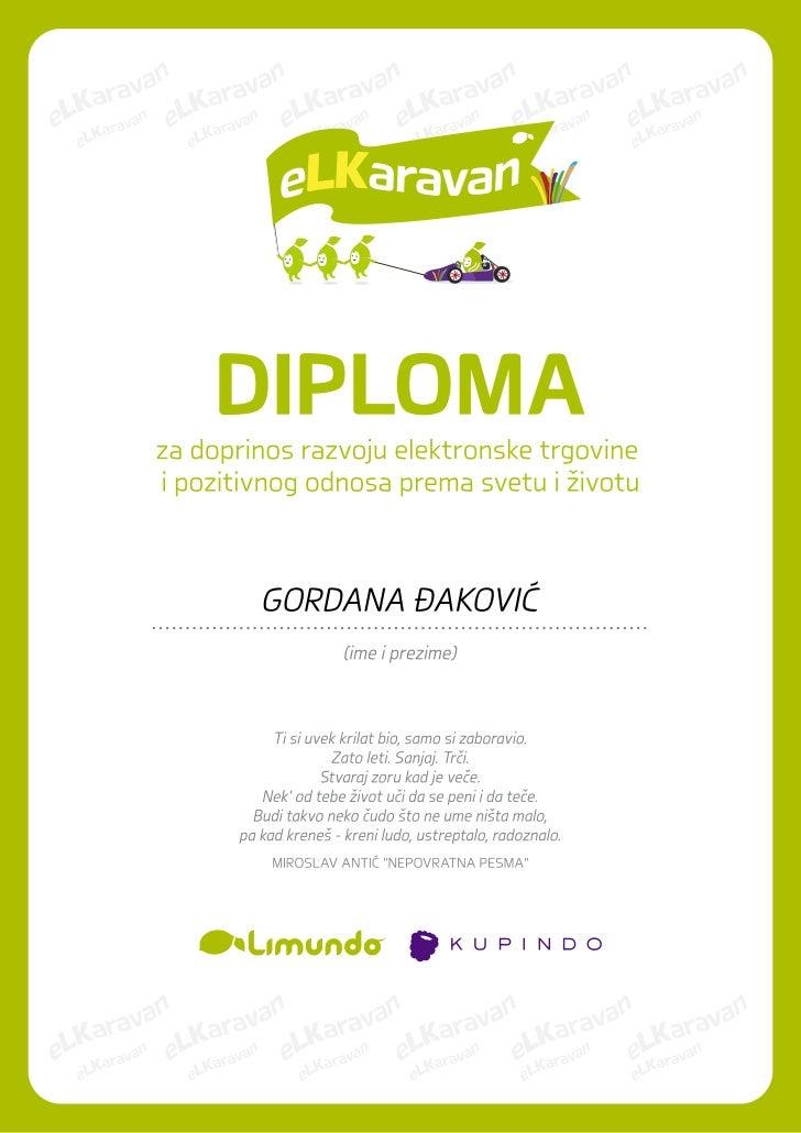 Zahvalnica Gordani Đaković