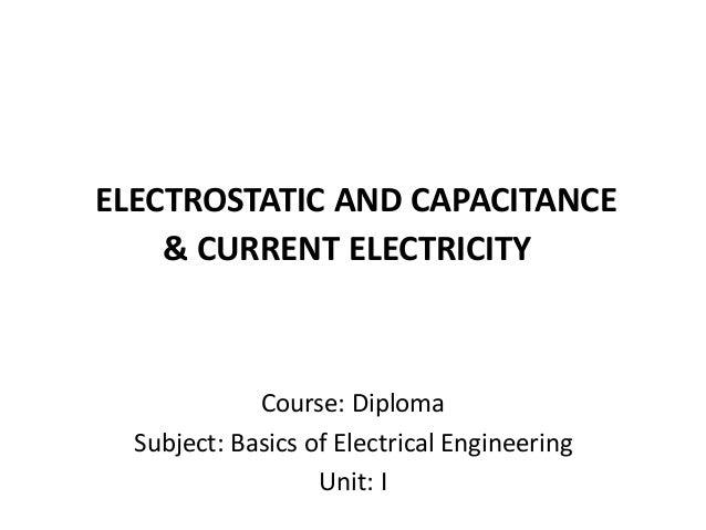 Diploma i boee u 1 electrostatic and capacitance
