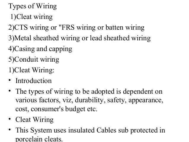 Types Of Wiring System Types Of Wiring System
