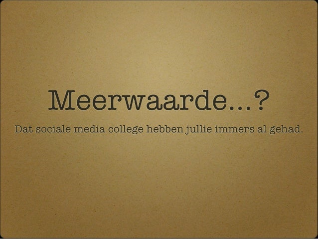 Gastcollege InHolland - Meerwaarde?