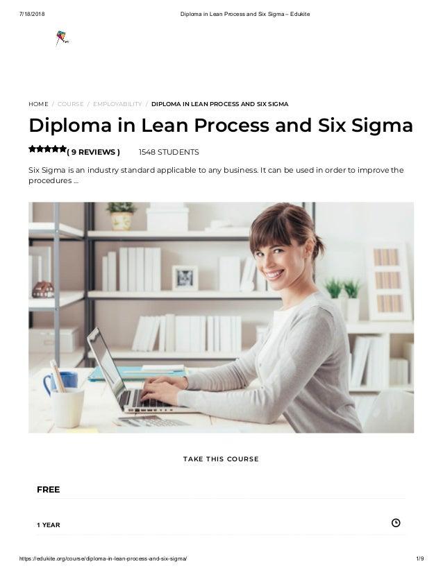 7/18/2018 Diploma in Lean Process and Six Sigma – Edukite https://edukite.org/course/diploma-in-lean-process-and-six-sigma...