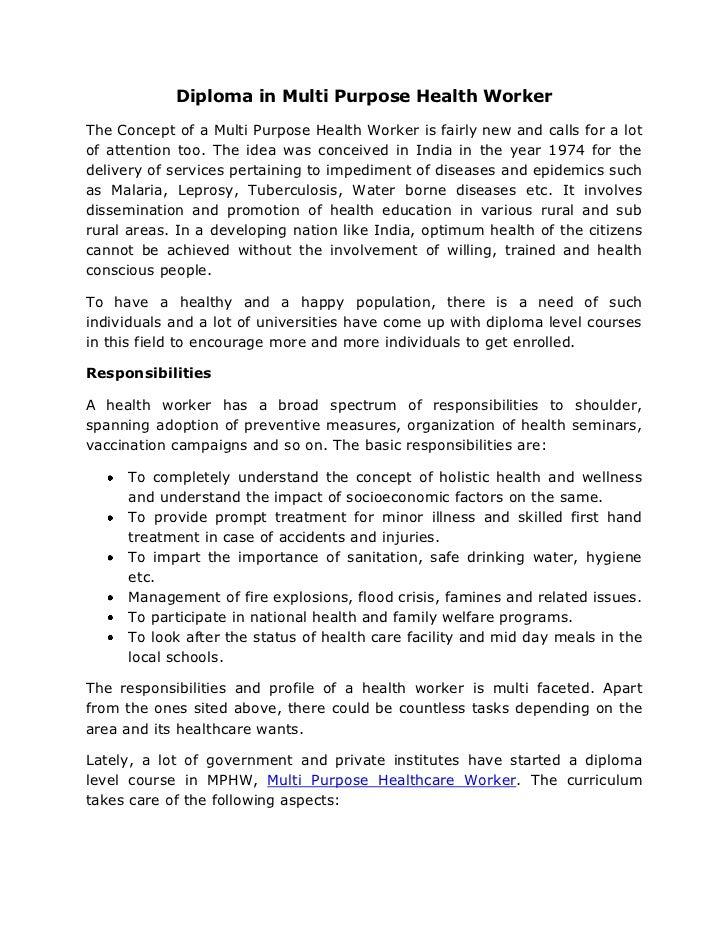 Diploma in multi purpose health worker