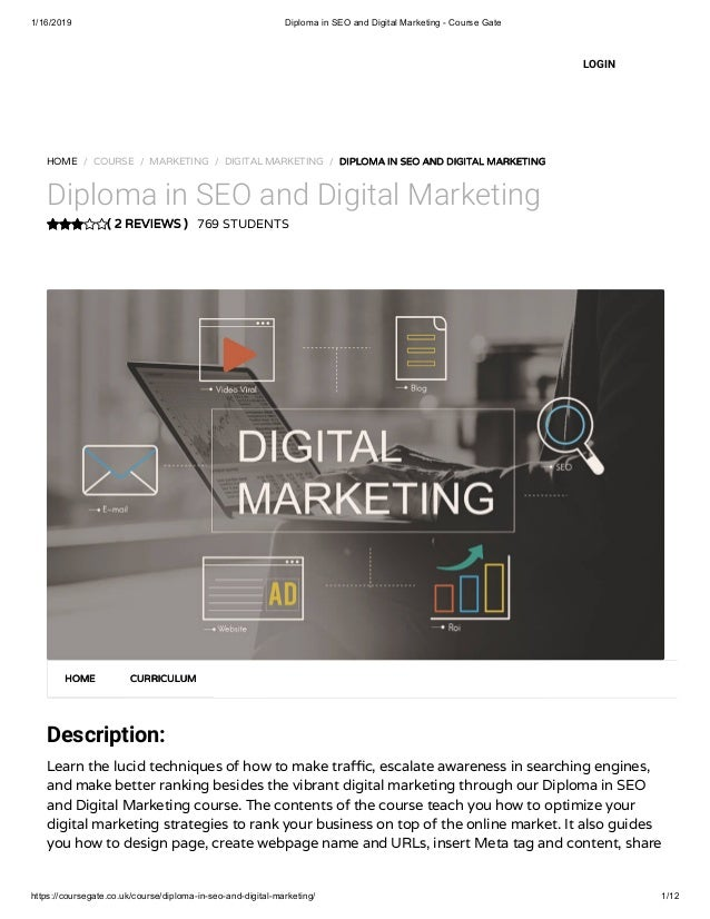 Diploma in SEO and Digital Marketing - Course Gate