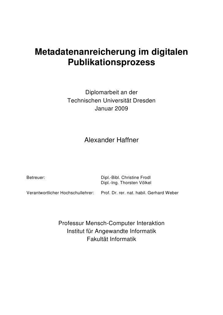 Metadatenanreicherung im digitalen Publikationsprozess