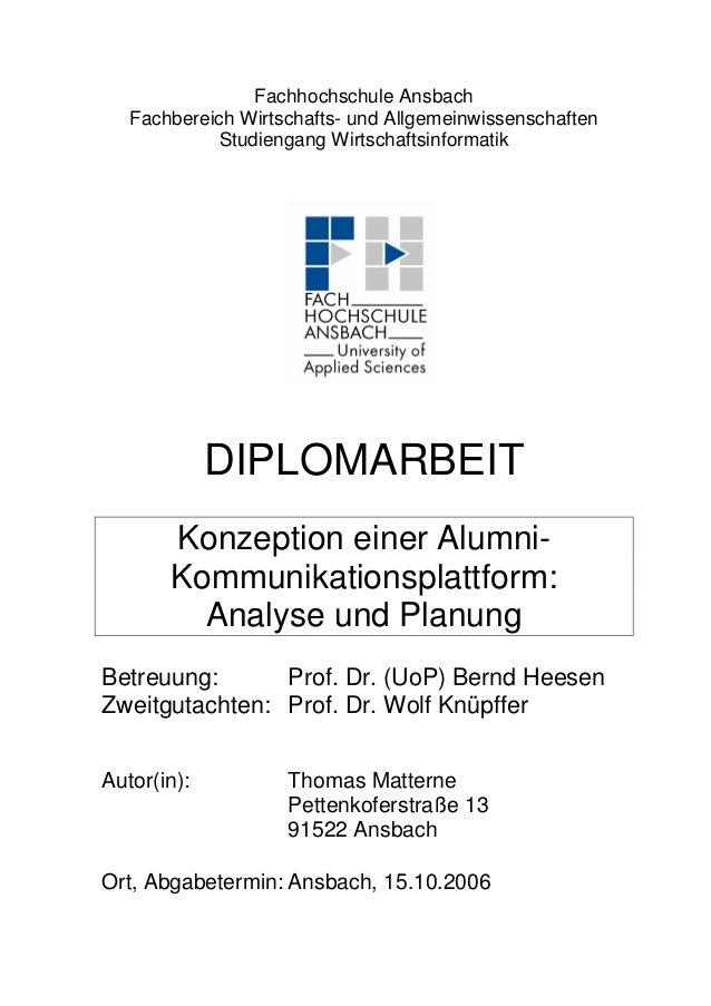 Fachhochschule Ansbach Fachbereich Wirtschafts- und Allgemeinwissenschaften Studiengang Wirtschaftsinformatik DIPLOMARBEIT...