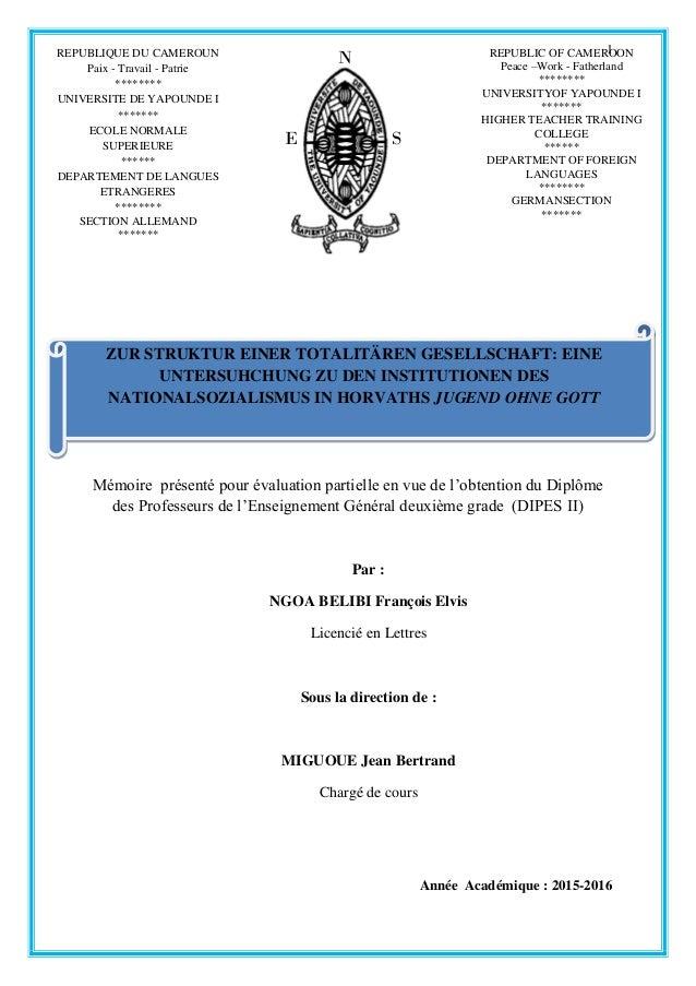 1 Mémoire présenté pour évaluation partielle en vue de l'obtention du Diplôme des Professeurs de l'Enseignement Général de...