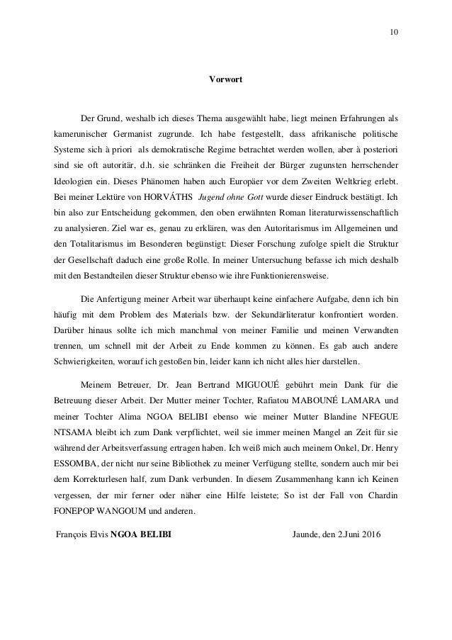 10 Vorwort Der Grund, weshalb ich dieses Thema ausgewählt habe, liegt meinen Erfahrungen als kamerunischer Germanist zugru...