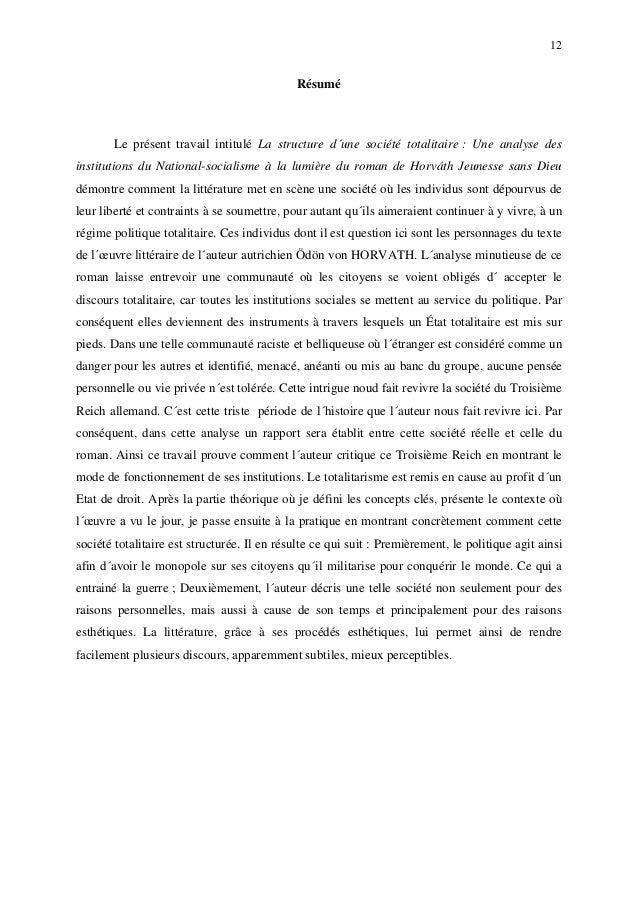 12 Résumé Le présent travail intitulé La structure d´une société totalitaire : Une analyse des institutions du National-so...