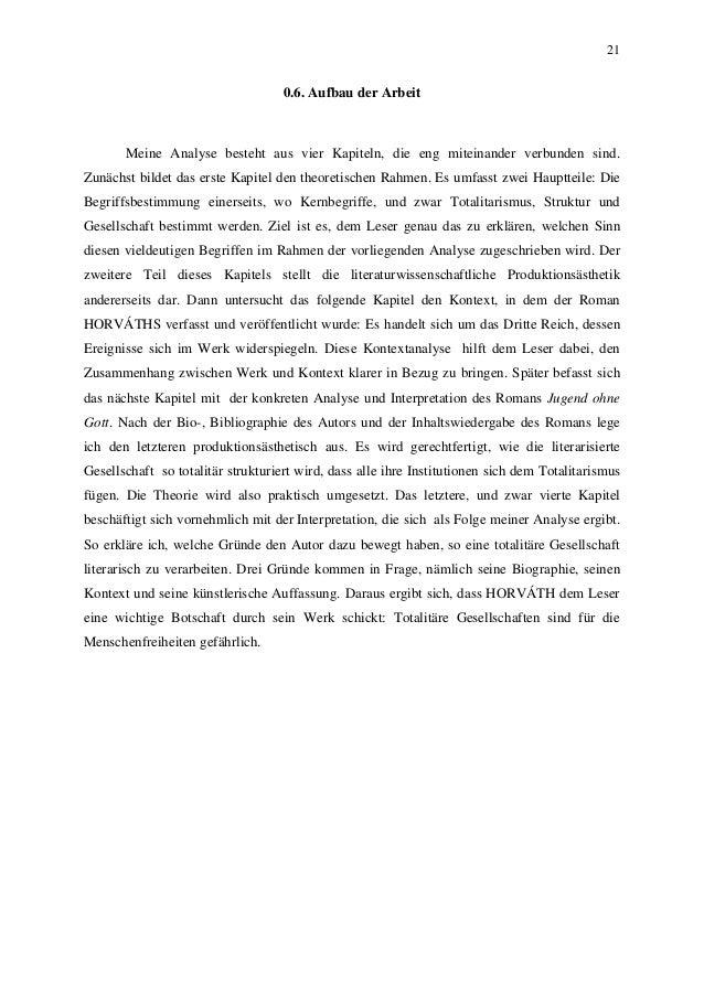 21 0.6. Aufbau der Arbeit Meine Analyse besteht aus vier Kapiteln, die eng miteinander verbunden sind. Zunächst bildet das...