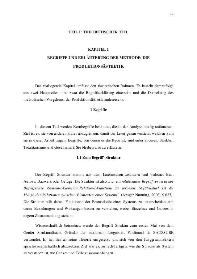 22 TEIL I: THEORETISCHER TEIL KAPITEL 1 BEGRIFFE UND ERLÄUTERUNG DER METHODE: DIE PRODUKTIONSÄSTHETIK Das vorliegende Kapi...