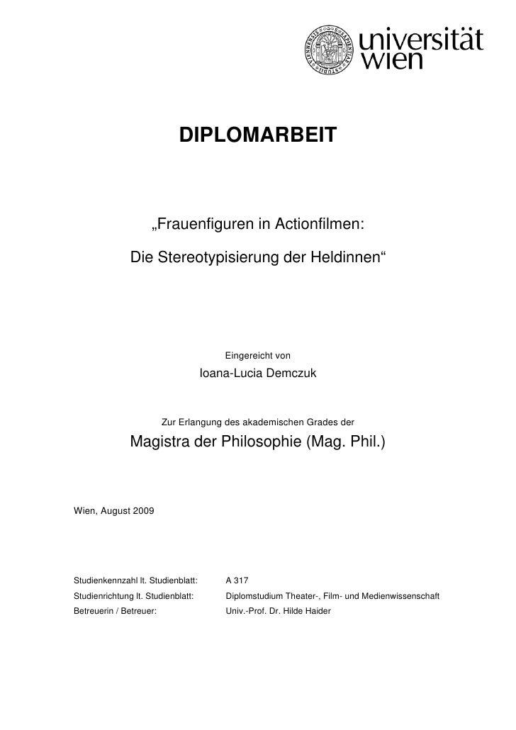 """DIPLOMARBEIT                         """"Frauenfiguren in Actionfilmen:                 Die Stereotypisierung der Heldinnen"""" ..."""