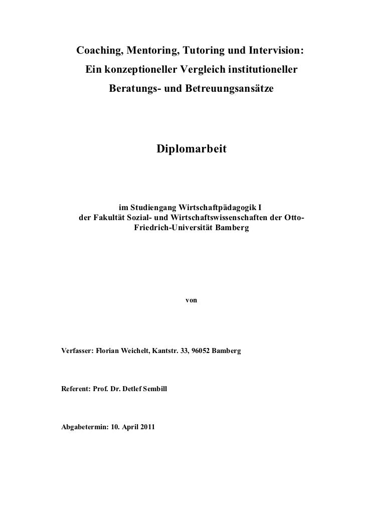 Coaching, Mentoring, Tutoring und Intervision:       Ein konzeptioneller Vergleich institutioneller               Beratung...