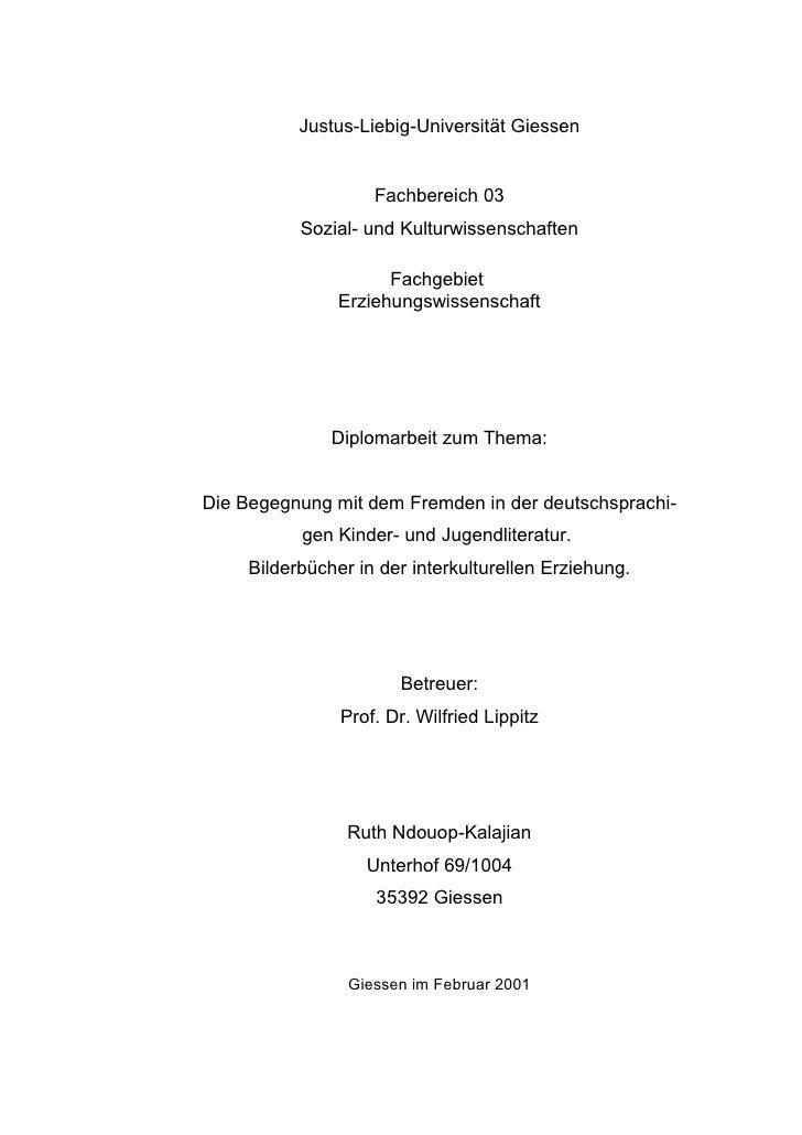 Justus-Liebig-Universität Giessen                    Fachbereich 03           Sozial- und Kulturwissenschaften            ...