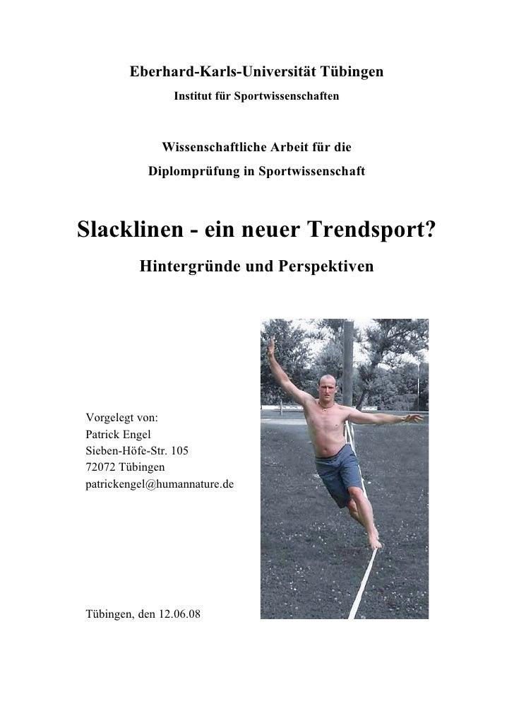 Eberhard-Karls-Universität Tübingen                 Institut für Sportwissenschaften                  Wissenschaftliche Ar...