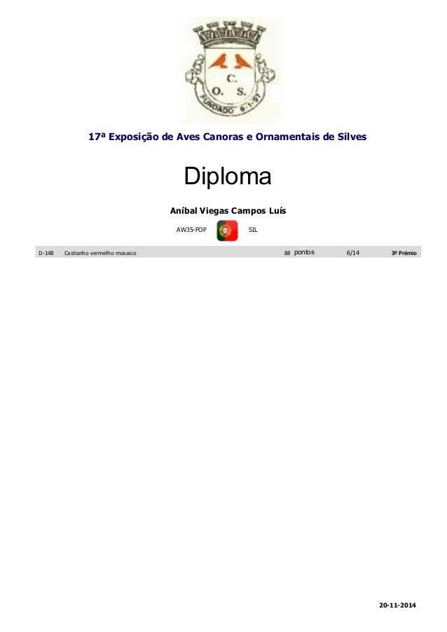 17ª Exposição de Aves Canoras e Ornamentais de Silves  Diploma  Aníbal Viegas Campos Luís  AW35-FOP SIL  D-148 Castanho ve...