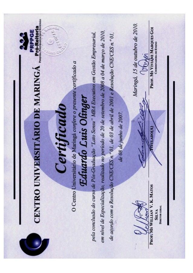 Diplomas e Histórico Eduardo Luis Olinger MBA Pós Graduação Cesumar FAE