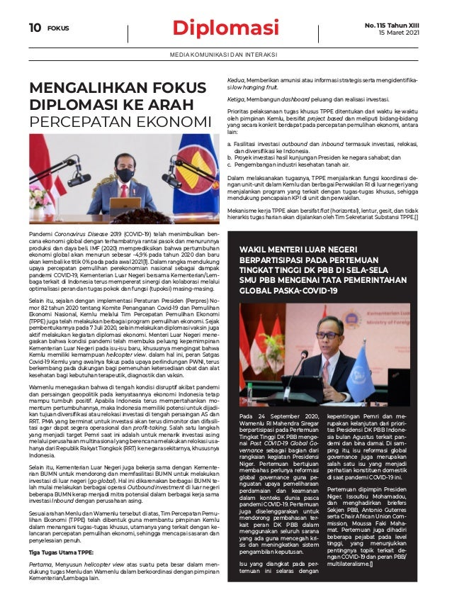 Diplomasi FOKUS 10 MEDIA KOMUNIKASI DAN INTERAKSI MENGALIHKAN FOKUS DIPLOMASI KE ARAH PERCEPATAN EKONOMI Pandemi Coronavir...