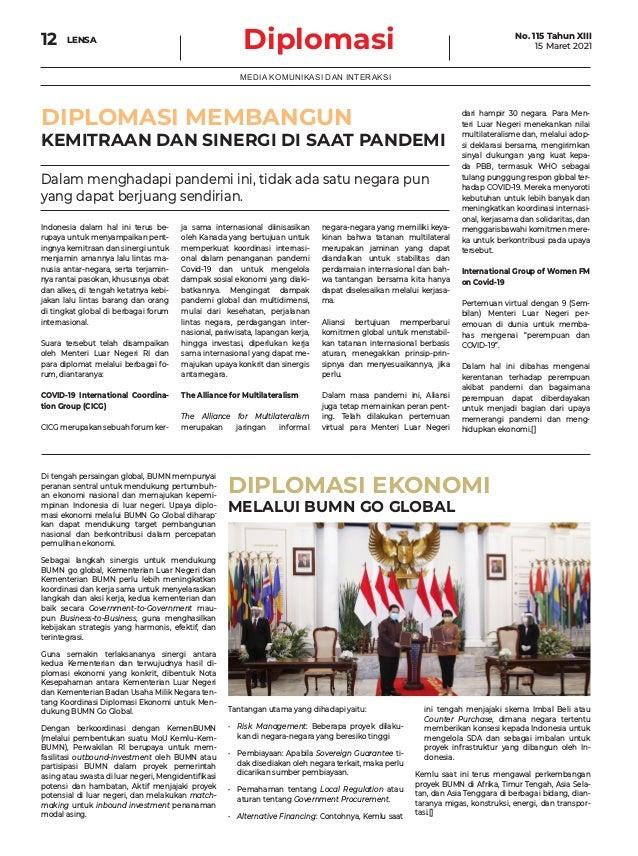 Diplomasi LENSA 12 MEDIA KOMUNIKASI DAN INTERAKSI DIPLOMASI MEMBANGUN KEMITRAAN DAN SINERGI DI SAAT PANDEMI DIPLOMASI EKON...