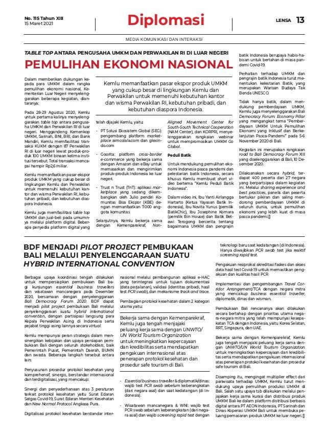 Diplomasi LENSA 13 MEDIA KOMUNIKASI DAN INTERAKSI TABLE TOP ANTARA PENGUSAHA UMKM DAN PERWAKILAN RI DI LUAR NEGERI PEMULIH...
