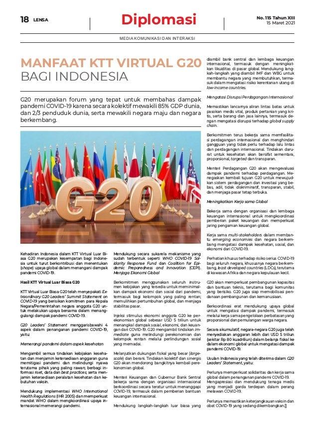 Diplomasi 18 MEDIA KOMUNIKASI DAN INTERAKSI MANFAAT KTT VIRTUAL G20 BAGI INDONESIA Kehadiran Indonesia dalam KTT Virtual L...