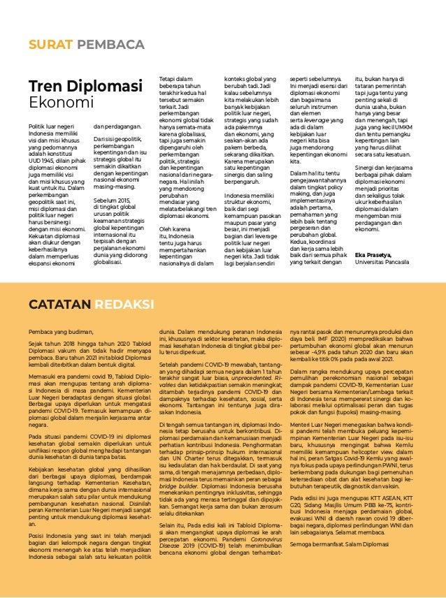 SURAT PEMBACA Tren Diplomasi Ekonomi CATATAN REDAKSI Pembaca yang budiman, Sejak tahun 2018 hingga tahun 2020 Tabloid Dip...