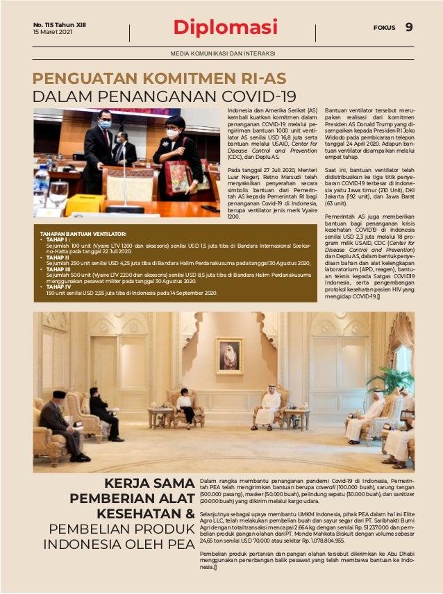 Diplomasi FOKUS 9 MEDIA KOMUNIKASI DAN INTERAKSI KERJA SAMA PEMBERIAN ALAT KESEHATAN & PEMBELIAN PRODUK INDONESIA OLEH PEA...