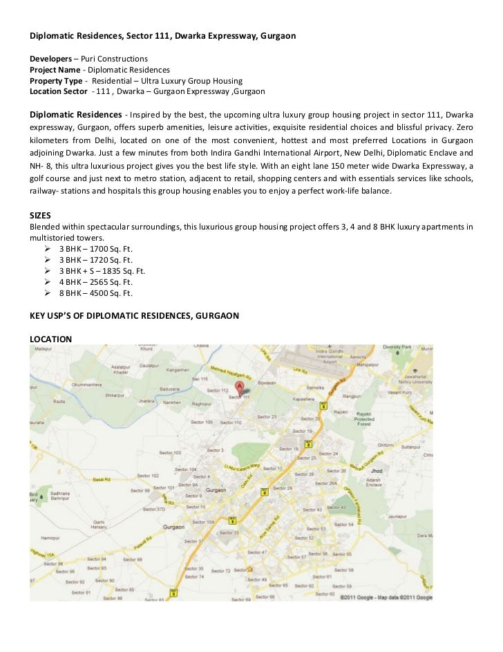 Diplomatic Residences, Sector 111, Dwarka Expressway, GurgaonDevelopers – Puri ConstructionsProject Name - Diplomatic Resi...