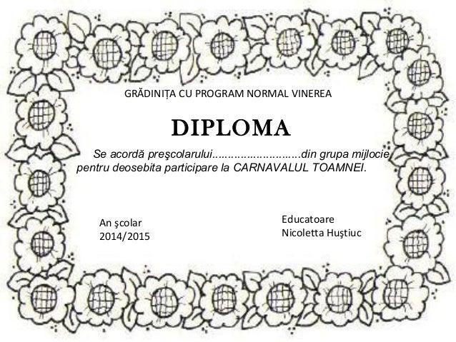 Diplome carnavalul toamnei