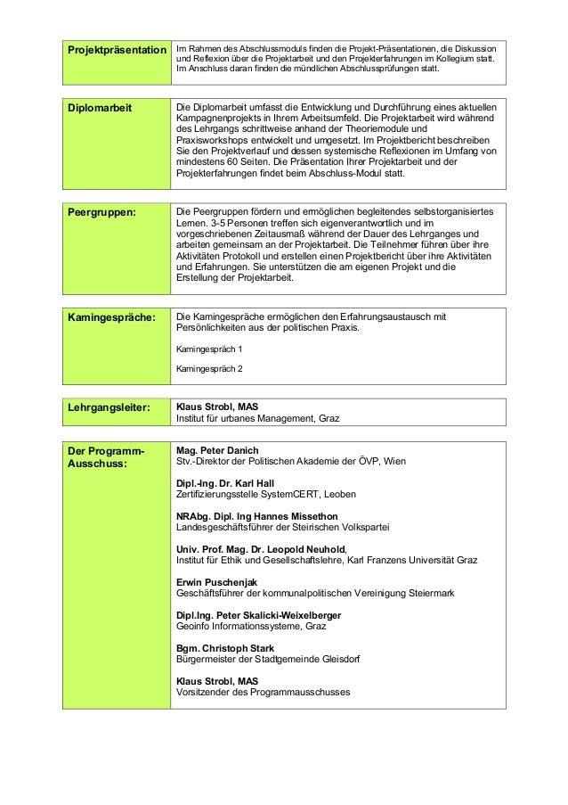 Diplomlehrgang Politisches Management Zertifzierung 2006