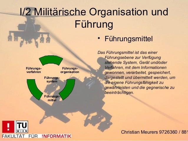 I/2 Militärische Organisation und              Führung                                        • Führungsmittel            ...