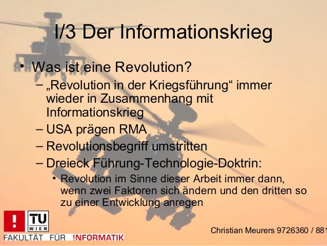 """I/3 Der Informationskrieg• Was ist eine Revolution?  – """"Revolution in der Kriegsführung"""" immer    wieder in Zusammenhang m..."""