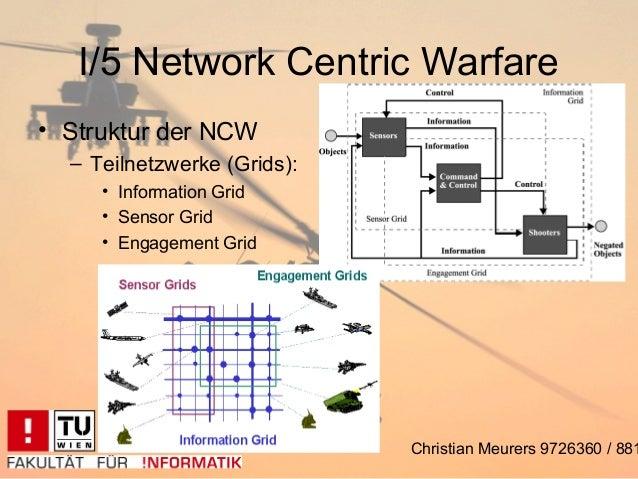 I/5 Network Centric Warfare• Struktur der NCW  – Teilnetzwerke (Grids):     • Information Grid     • Sensor Grid     • Eng...