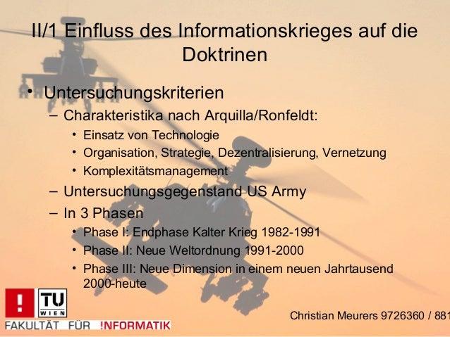 II/1 Einfluss des Informationskrieges auf die                   Doktrinen• Untersuchungskriterien  – Charakteristika nach ...