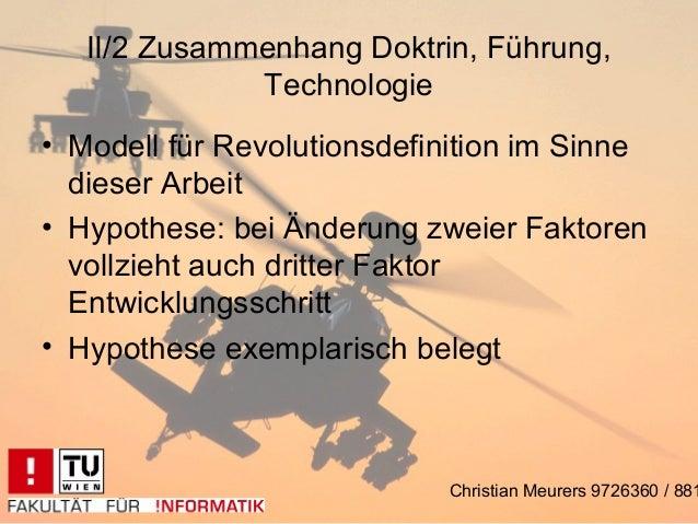 II/2 Zusammenhang Doktrin, Führung,              Technologie• Modell für Revolutionsdefinition im Sinne  dieser Arbeit• Hy...