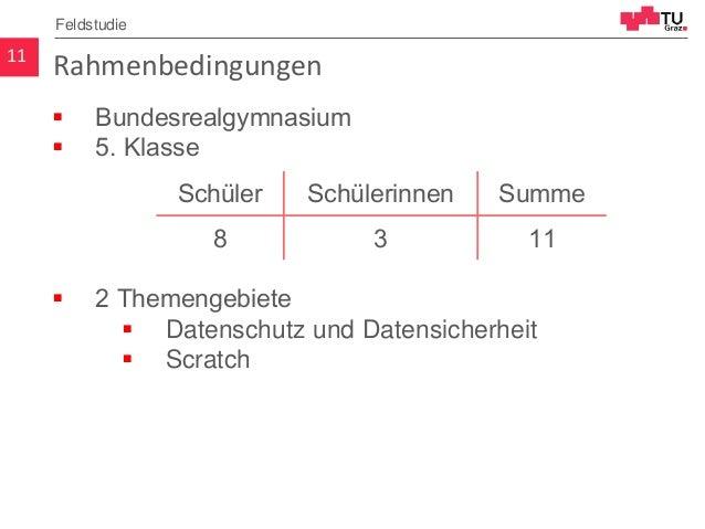 Rahmenbedingungen  Bundesrealgymnasium  5. Klasse  2 Themengebiete  Datenschutz und Datensicherheit  Scratch 11 Felds...