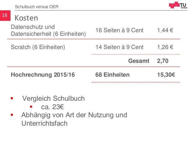 Kosten18 Schulbuch versus OER Datenschutz und Datensicherheit (6 Einheiten) 16 Seiten à 9 Cent 1,44 € Scratch (6 Einheiten...