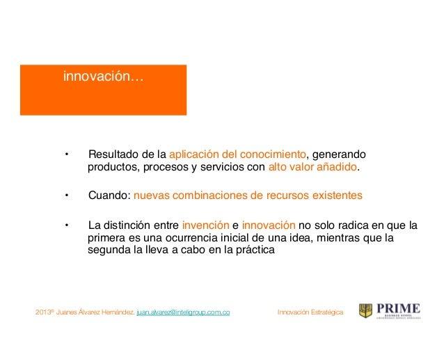 2013® Juanes Álvarez Hernández. juan.alvarez@inteligroup.com.co    Innovación Estratégica Creatividad: capacidad humana pa...
