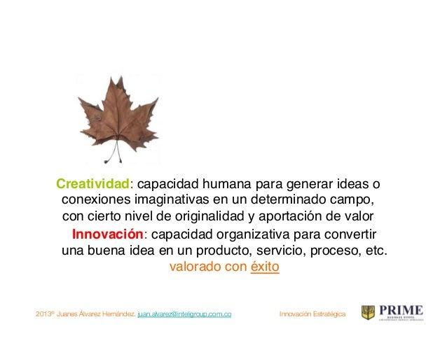 2013® Juanes Álvarez Hernández. juan.alvarez@inteligroup.com.co    Innovación Estratégica ¿Qué es innovación? Innovar sign...