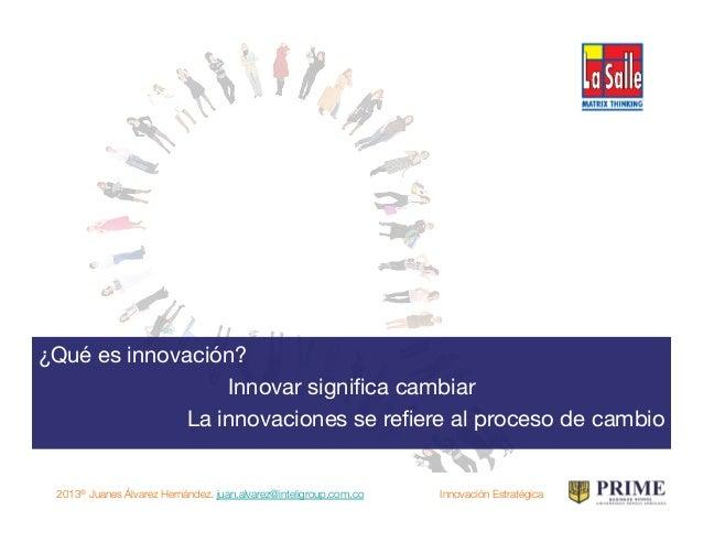 "2013® Juanes Álvarez Hernández. juan.alvarez@inteligroup.com.co    Innovación Estratégica ""Crear valor a partir de nuevas ..."