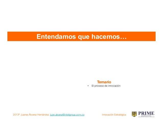 2013® Juanes Álvarez Hernández. juan.alvarez@inteligroup.com.co    Innovación Estratégica Proceso de innovación Estrategia...