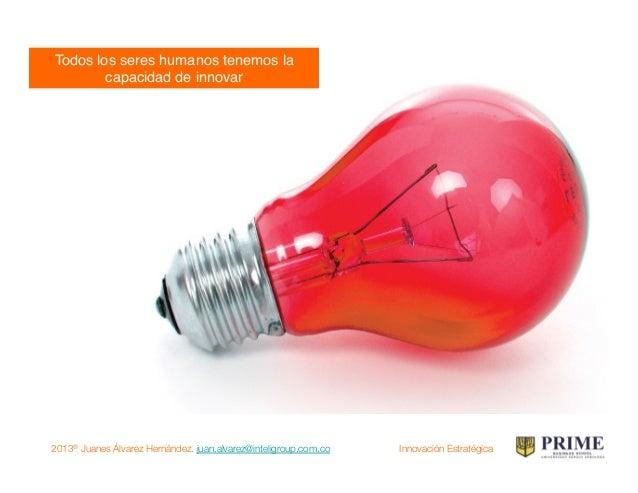 2013® Juanes Álvarez Hernández. juan.alvarez@inteligroup.com.co    Innovación Estratégica No existe una única receta!