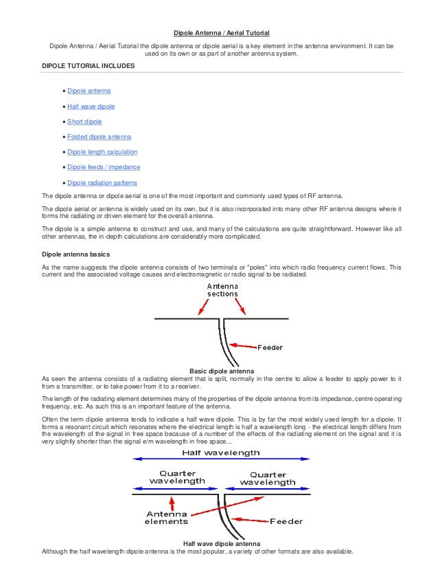 Dipole antenna aerial tutorial