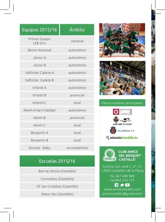 Equipos 2015/16 Ámbito Primer Equipo LEB Oro nacional Sénior Nacional autonómico Júnior A autonómico Júnior B autonómico V...