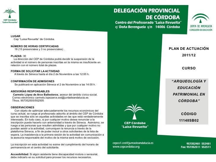 """LUGAR  Cep """"Luisa Revuelta"""" de Córdoba.NÚMERO DE HORAS CERTIFICADAS  18 (15 presenciales y 3 no presenciales) .           ..."""