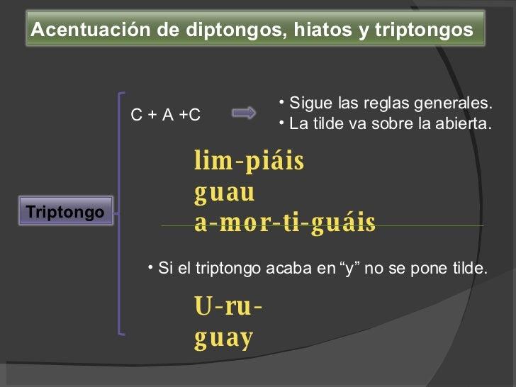 C + A +C <ul><li>Sigue las reglas generales.  </li></ul><ul><li>La tilde va sobre la abierta. </li></ul>lim-piáis guau a-m...